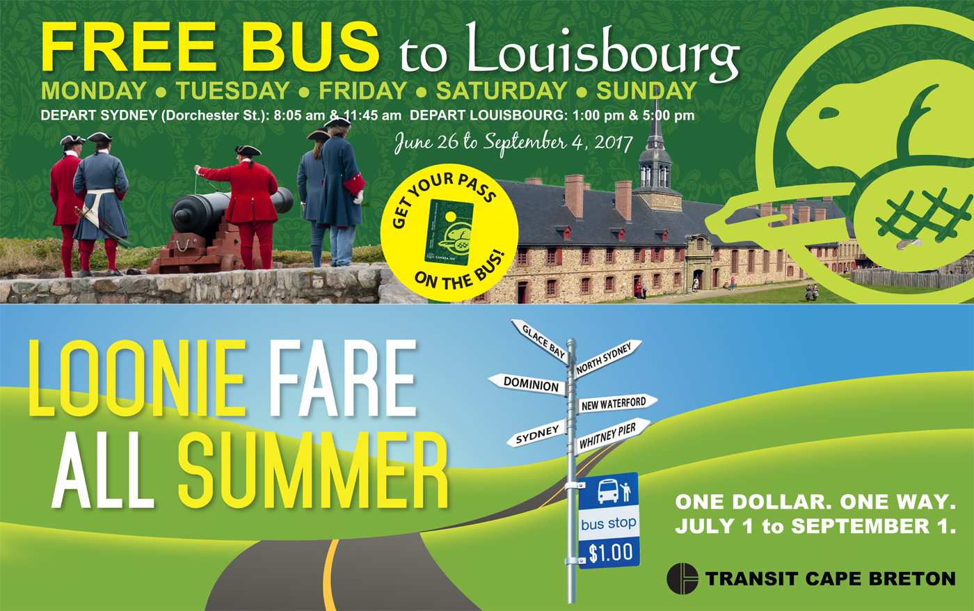 Louisbourg and loonie fare