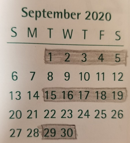 September 2020 blue bag schedule